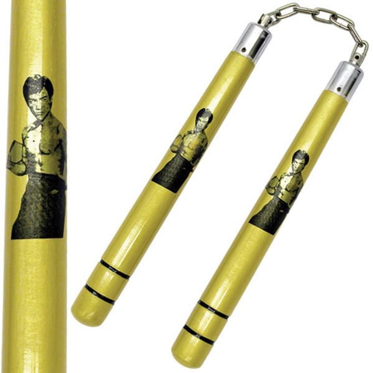 Deluxe Wooden Gold Bruce Lee Nunchaku