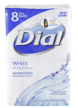 1700002411 Dial Corporation Bar Soap, Antibacterial, White, 8-Bar Wrap, 4 oz