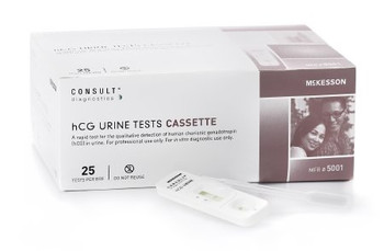 5001  McKesson Rapid Diagnostic Test Kit McKesson Consult™ One-Step hCG Pregnancy Test Urine Sample CLIA Waived 25 Tests TEST KIT, PREG HCG CASSETTE WAIVED (25/KT)