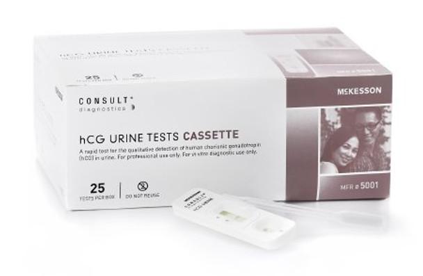 5001  McKesson Rapid Diagnostic Test Kit McKesson Consult™ One-Step hCG Pregnancy Test Urine Sample CLIA Waived 25 Tests TEST KIT, PREG HCG CASSETTE WAIVED (25/KT)