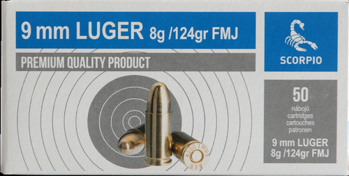 Scorpio 9mm LUGER Ammo - 124gr - FMJ