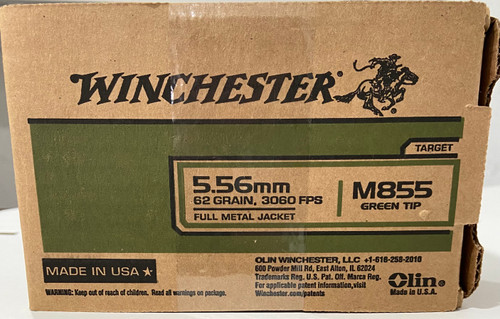 Winchester 5.56mm Ammo - 62 grain - 3060 FPS - FMJ - M855 Green Tip - Target