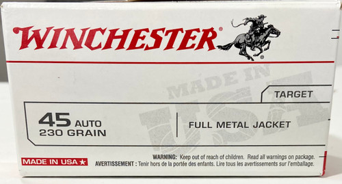 Winchester 45 Auto Ammo - 230 grain - FMJ - Target - 50 ROUNDS