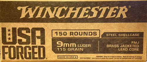 Winchester 9mm Luger Ammo - 115 grain - USA Forged - FMJ Brass Jacketed Lead Core - Steel Shellcase - 150 ROUNDS
