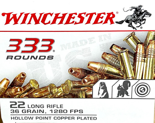 Winchester 22 Long Rifle - 36 grain - 1280 FPS - Hollow Point, Copper Plated -333 ROUNDS