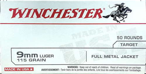 Winchester 9mm Luger Ammo - 115 grain - Target - FMJ - 50 ROUNDS