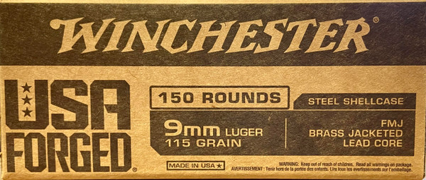 Winchester 9mm Luger Ammo - 115 grain - USA Forged - FMJ Brass Jacketed Lead Core - Steel Shellcase