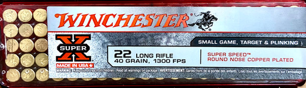 Winchester 22 Long Rifle - 40 grain - 1300 FPS - Super Speed, Round Nose Copper Plated - 100 ROUNDS