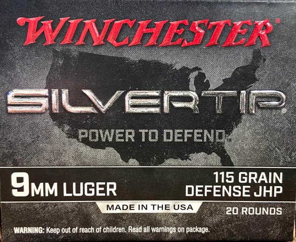 Winchester 9mm Luger Ammo - Silvertip - 115 grain - Defense JHP - 20 ROUNDS