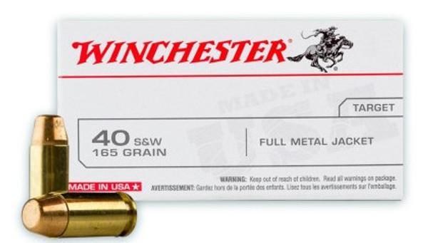 Winchester 40 S&W Ammunition - Target - FMJ - 165 grain - 100 ROUNDS