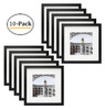 12x12 Black Picture Frame - Made to Display Pictures 8x8 Photo with Ivory Color Mat - Wide Molding - Built in Hanging Features(10pcs/box)