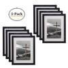 8x10 Black Picture Frame - Made to Display Pictures 5x7 Photo with Ivory Color Mat - Wide Molding Real Glass - Built in Hanging Features (8pcs/box)