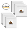 8x8 White Picture Frame - Made to Display Pictures 4x4 Photo with Ivory Color Mat - Wide Molding Real Glass - Built in Hanging Features (8x8, White) (8pcs/box)