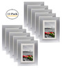 Metal Picture Frame Collection, 5x7 Aluminum Silver Photo Frame with Ivory Color Mat for 4x6 Picture & Real Glass (10pcs/box)