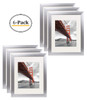11x14 Metal Picture Frame Collection, Aluminum Silver Photo Frame with Ivory Color Mat for 8x10 Picture & Real Glass (6pcs/box)