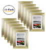 5x7 Metal Picture Frame Collection, Aluminum Gold Photo Frame with Ivory Color Mat for Picture & Real Glass (10pcs/box)