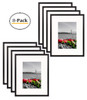 8x10 Table-Top Metal Picture Frame Collection, Aluminum Photo Frame with Ivory Color Mat for 5x7 Picture & Real Glass (Black) (8pcs/box)