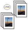 Metal Picture Frame Collection, 11x14 Aluminum Black Photo Frame with Ivory Color Mat for 8x10 Picture & Real Glass (Black) (6pcs/box)