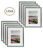 8x10 Dark Grey Table-Top Metal Picture Frame Collection, Aluminum Photo Frame with Ivory Color Mat for 5x7 Picture & Real Glass (8pcs/box)