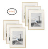 16x20 Metal Picture Frame Collection, Aluminum Photo Frame with Ivory Color Mat for 11x14 Picture & Real Glass (Gold) (6pcs/box)
