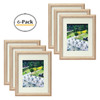 11x14 Natural Color Frame - Curved Bevel Design - Made to Display Pictures 8x10 Photo With Ivory Color Mat - Real Glass (Natural, 11x14) (6pcs/box)