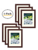 11x14 Picture Frame - Walnut Color, Curved Bevel Design - Made to Display 8x10 Photo With Ivory Color Mat - Real Glass (11x14, Walnut) (6pcs/box)