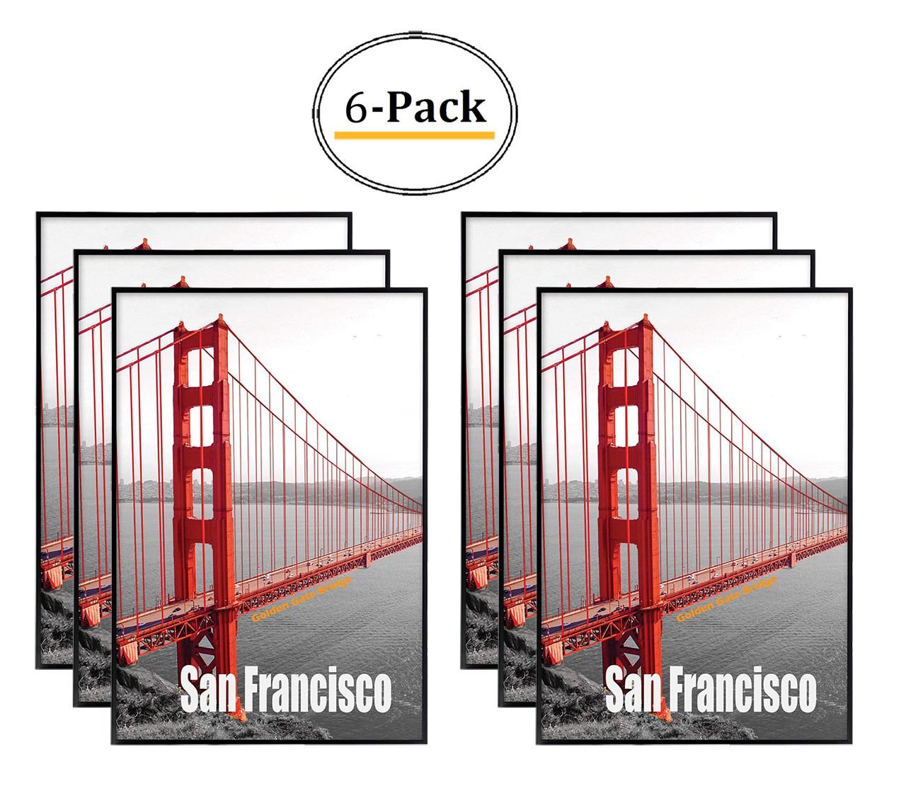 13X19 Poster Frame, Pre-Assembled Black Metal Aluminum, Golden Gate ...
