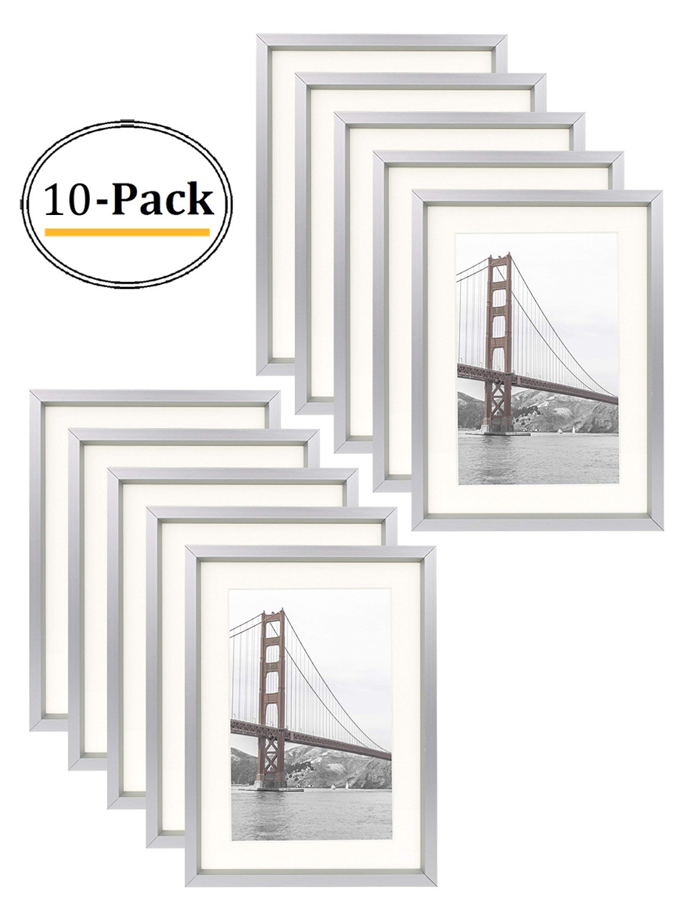 5x7 Silver Aluminum Frame With Ivory Color Mat For 4x6 Pictures