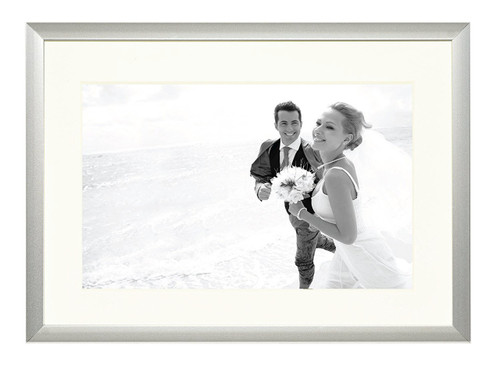 5x7-Table top Modern metallic picture frame, Aluminum Silver Photo Frame with Ivory Color Mat for 4x6 Picture & Real Glass (10 pcs/box )