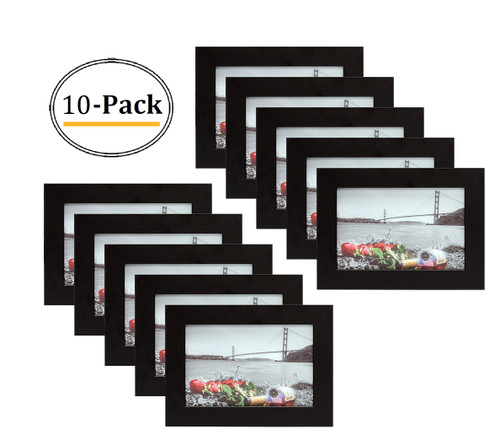 4x6 Black Picture Frame - Made to Display Pictures 4x6 Photo - Wide Molding Real Glass - Preinstalled Wall Mounting Hardware (10pcs/box)