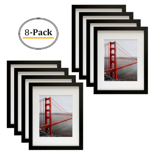11x14 Black Picture Frame - Made to Display Pictures 8x10 with Mat or 11x14 Without Mat - Wide Molding - Pre-installed Wall Mounting Hardware (8pcs/box)