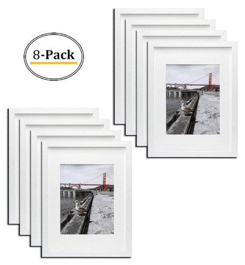 12x16 White Picture Frame - Made to Display Pictures 8.5x11 Photo with Ivory Color Mat - Wide Molding - Preinstalled Wall Mounting Hardware (8pcs/box)