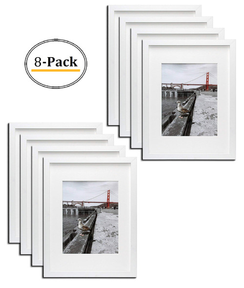 12x16 White Picture Frame - Made to Display Pictures 8.5x11 Photo with Ivory Color Mat - Wide Molding - Built in Hanging Features  (8pcs/box)