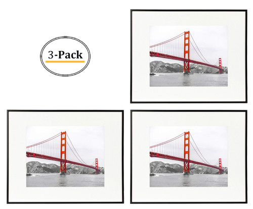 16x20 Poster Frame,Aluminum Matte Black Photo Frame with Ivory Color Mat for 11x14 Picture & Real Glass (3pcs/box)