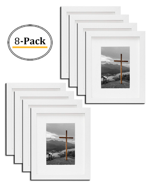 8x10 White Picture Frame - Made to Display Pictures 5x7 Photo with Ivory Color Mat - Wide Molding Real Glass - Built in Hanging Features (8x10, White) (8pcs/box)