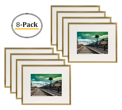 Metal Picture Frame Collection, Aluminum Gold Photo Frame with Ivory Color Mat for Picture & Real Glass (8x10) (8pcs/box)