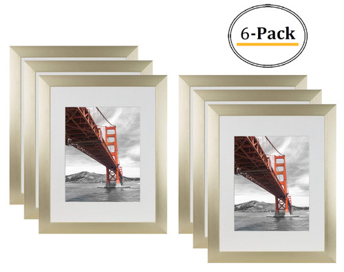 11x14 Metal Picture Frame Collection, Aluminum Gold Photo Frame with Ivory Color Mat for Picture & Real Glass (6pcs/box)