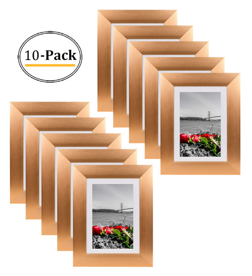 Metal Picture Frame Collection, 5x7 Aluminum Rose Gold Photo Frame with Ivory Color Mat for 4x6 Picture & Real Glass (10pcs/box)