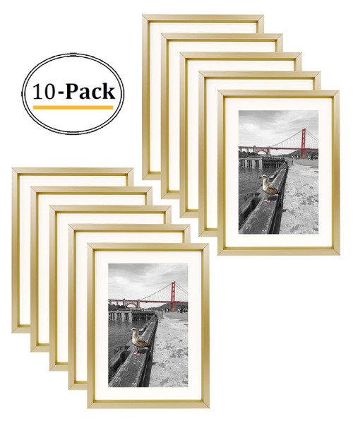 5X7 Table-Top Metal Picture Frame Collection, Aluminum Photo Frame with Ivory Color Mat for 4X6 Picture & Real Glass (Gold) (10pcs/box)
