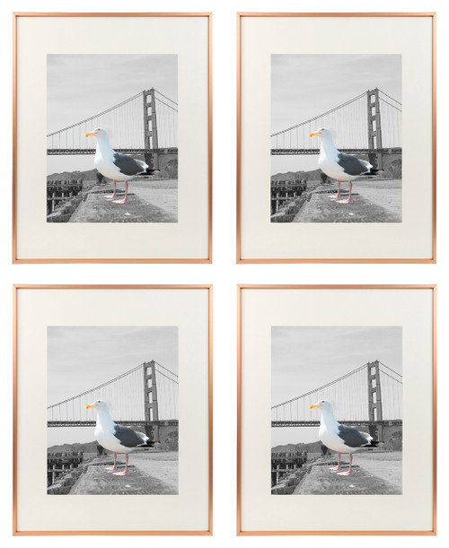 16x20 Metal Picture Frame Collection, Aluminum Photo Frame with Ivory Color Mat for 11x14 Picture & Real Glass (Rose Gold) (4pcs/box)