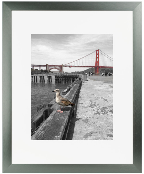 Frametory, 16x20 Satin Brushed Aluminum Photo Frame with Ivory Color Mat for 11x14 Picture & Real Glass (Grey)
