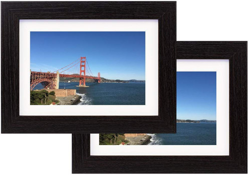 5x7 Black Wood Grain Finish Looking Photo Frame with Ivory Color Mat for 4x6 Picture & Real Glass (2pcs)