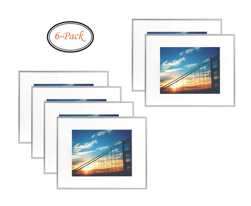 16x20 inch Metal Picture Frame Collection, Aluminum Silver Photo Frame with Ivory Color Mat for 11x14 inch Picture & Real Glass (16x20) (6pcs/box)