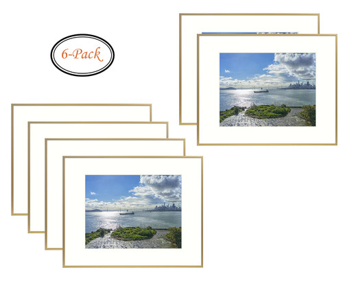 16x20 Metal Picture Frame Collection, Aluminum Gold Photo Frame with Ivory Color Mat for Picture & Real Glass (16x20) (6pcs/box)