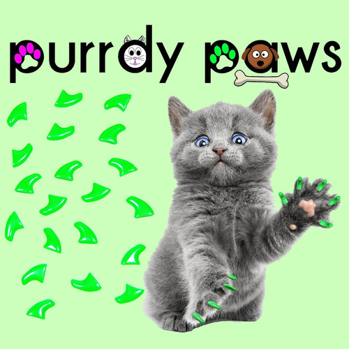 ... Purrdy Paws Cat and Kitten Soft Nail Cap Covers in Neon Green ...