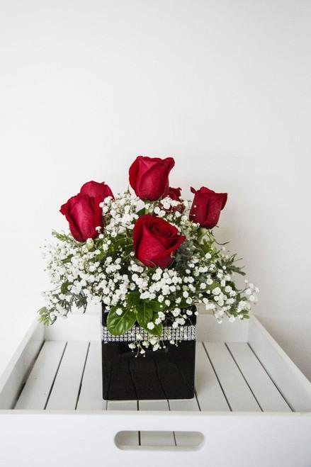 Red Rose Posie Pot