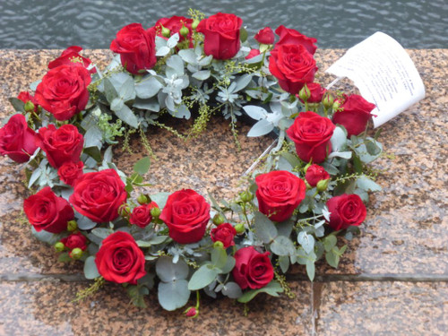 Red rose and gum wreath