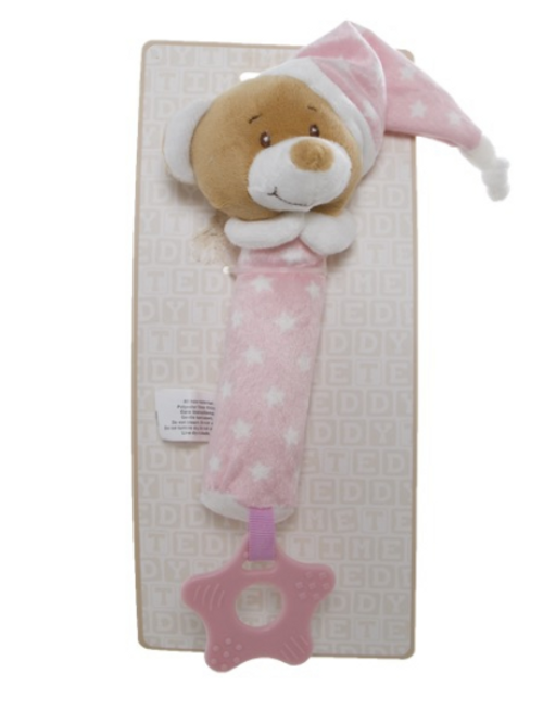 Teddytime Squeaky Toy (blue and pink)