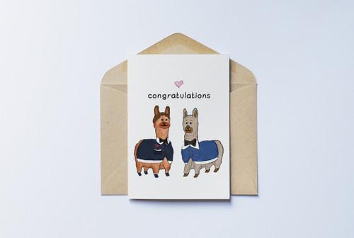 Congratulations Card - Llama Grooms