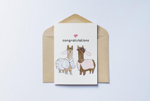 Congratulations Card - Llama Brides